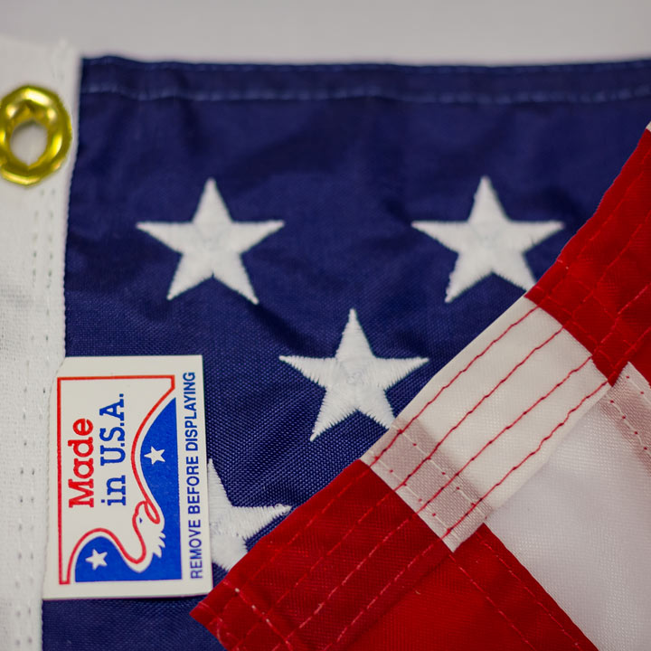 Detail of Embroidered Stars and Stripes on Grommet Hung US Flag