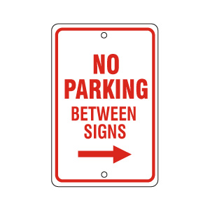 No Parking Between Signs Right Red