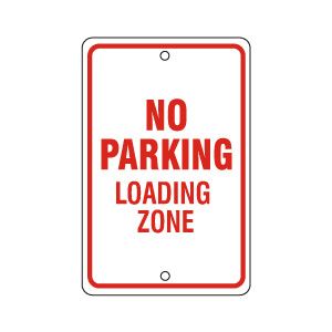 No Parking Loading Zone Red