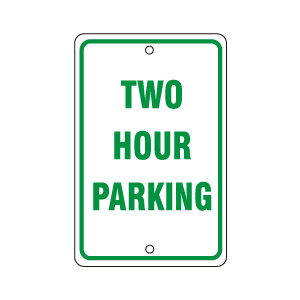 Two Hour Parking Sign Green